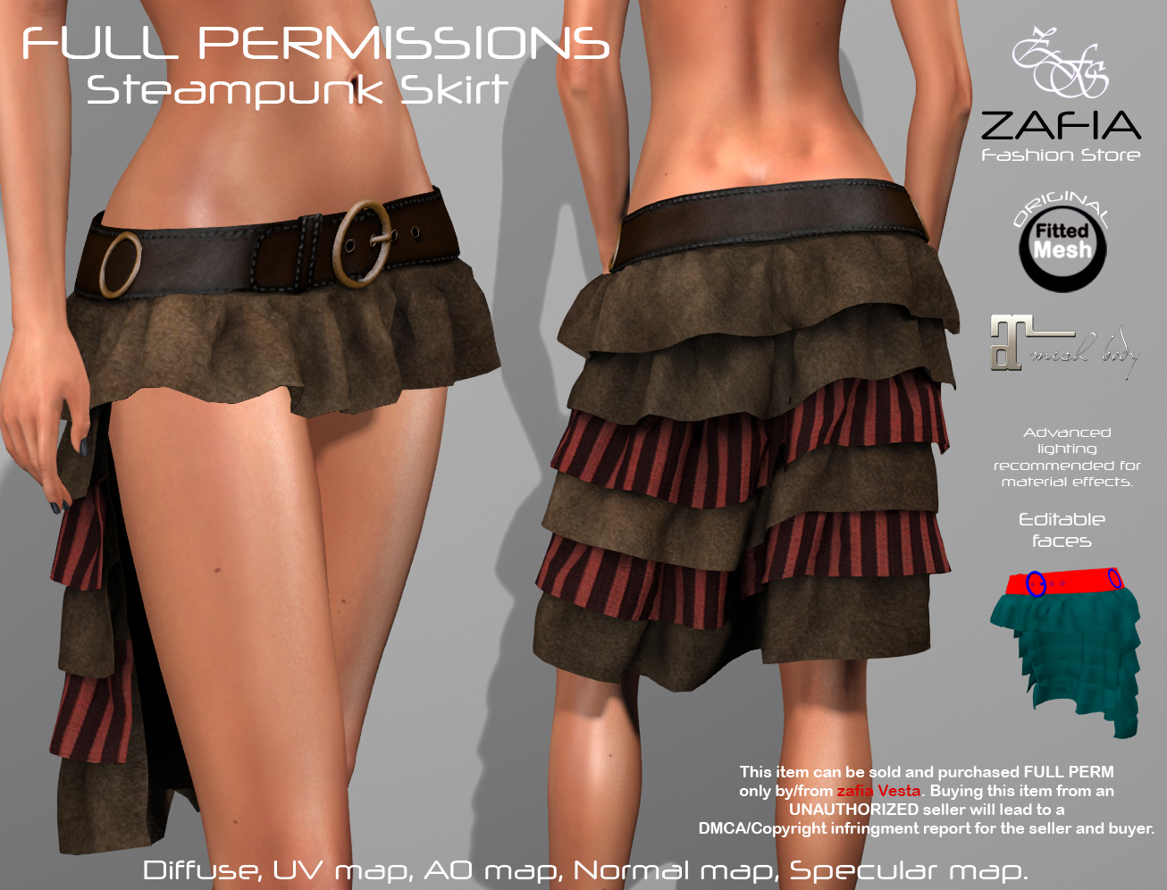 FullPerm ZAFIA Steampunk Skirt. – ZAFIA Fashion Store