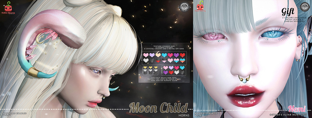 {Moon Child} horns  [Cubic Cherry] +  {Nemi} eyes blue and pink hunt gift