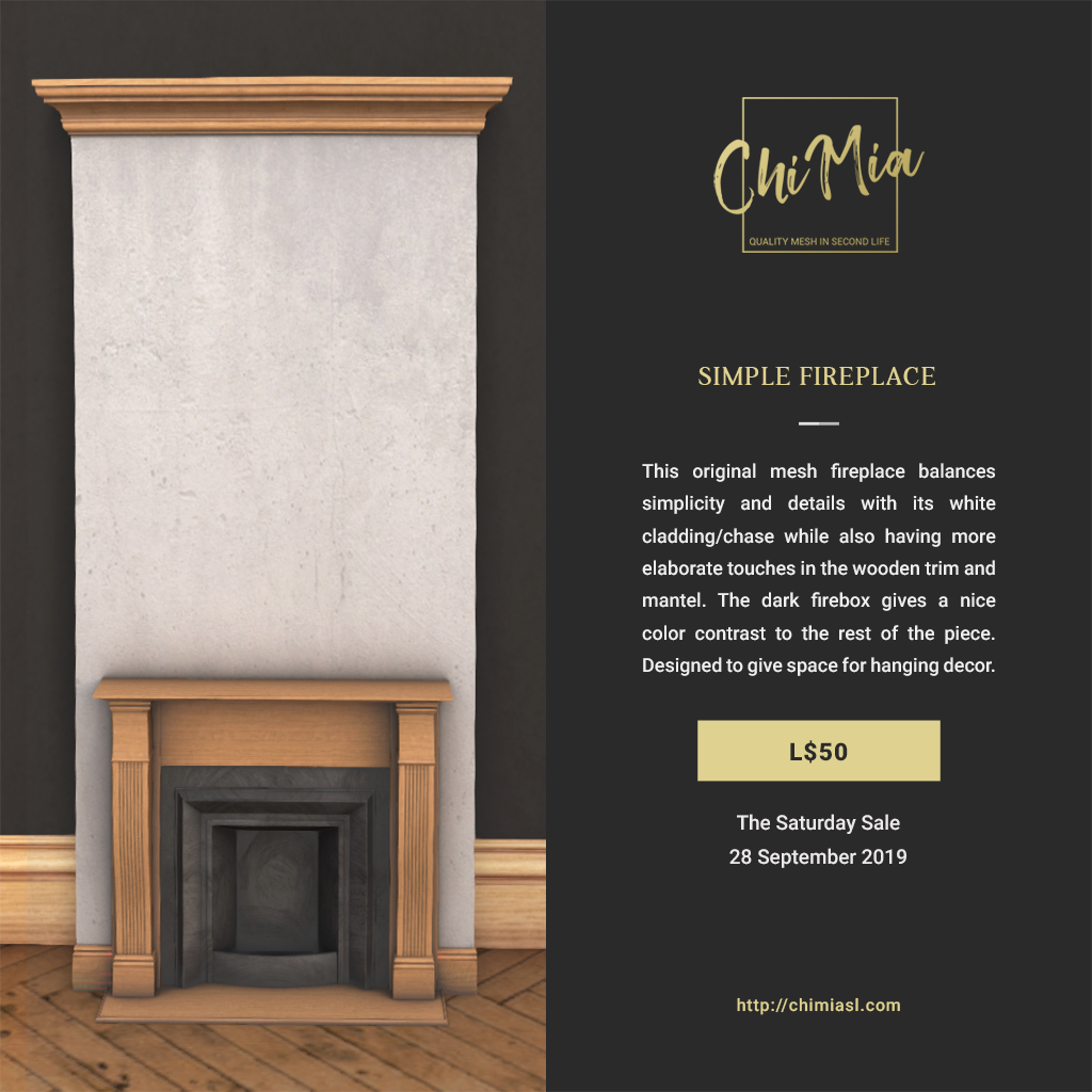 The Saturday Sale 28 September 2019: Simple Fireplace   ChiMia