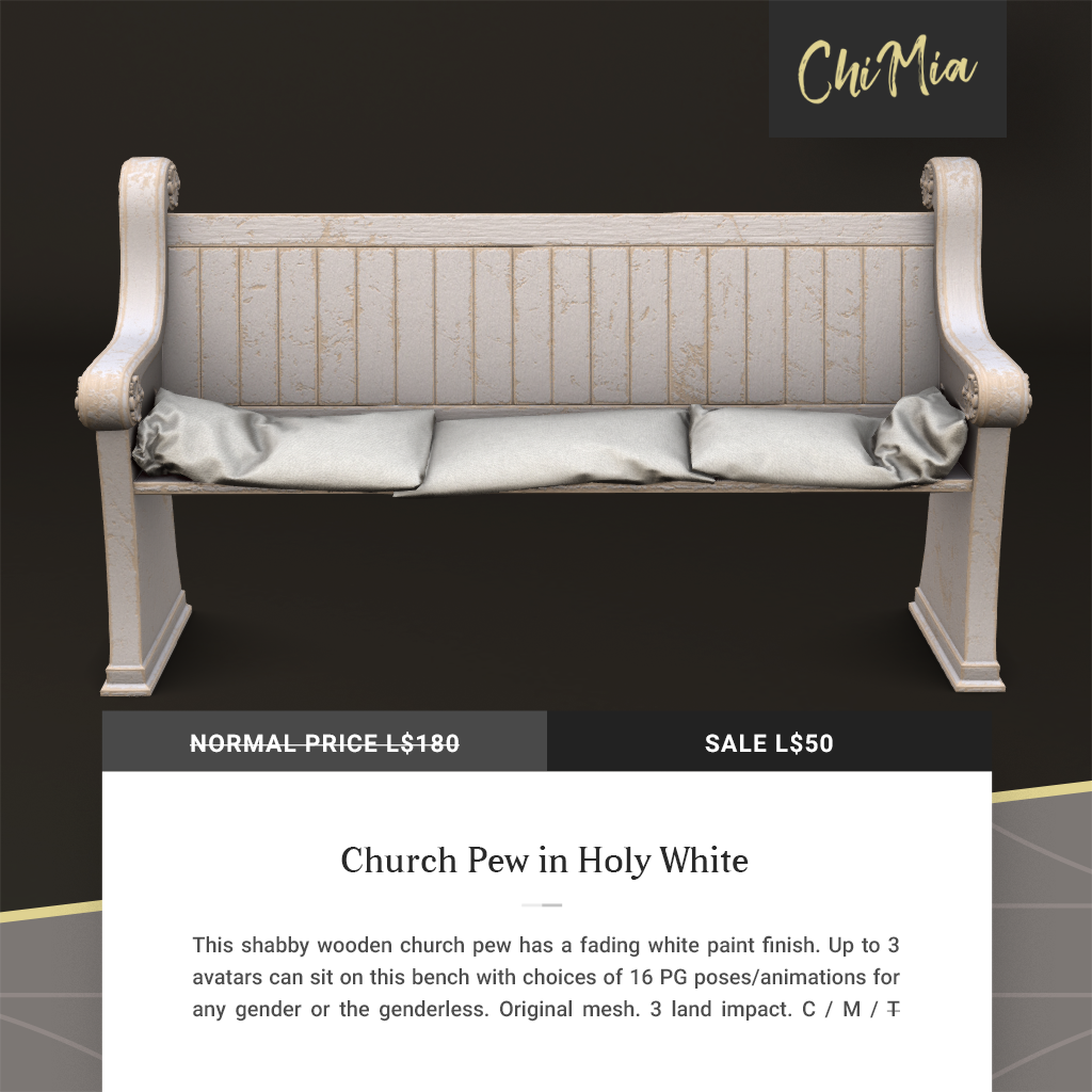Fifty Linden Fridays 18 Oct 2019: Church Pew   ChiMia